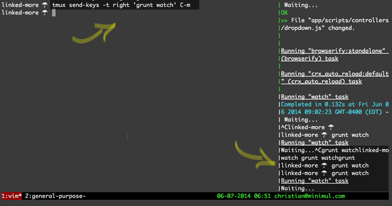 Increased Developer Productivity with Tmux, Part 5: Send-keys command