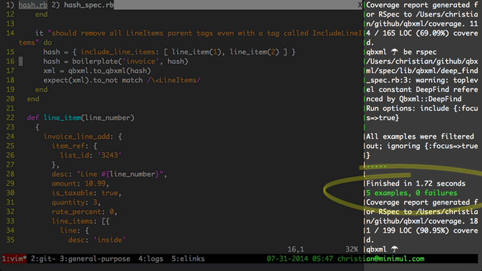 Vim, Rspec, and Tmux productivity booster